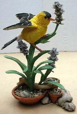 Country Artists Birds, Goldfinch On Lavender Figurine #2361002396