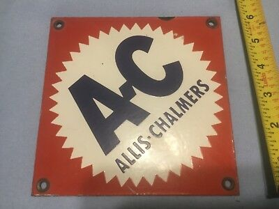 "Vintage 6""  by 6"" 1940s 1950s Allis-Chalmers Porcelain Sign Metal AC Tractor"
