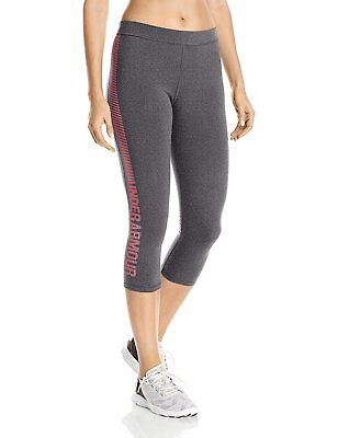 Under Armour Women's Favorite Graphic Capris Carbon Heather/Pink Shock Large NWT