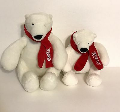 Coca-Cola, White Polar Bears With Red Scarf Plush Stuff Animals, Set Of 2 Bears