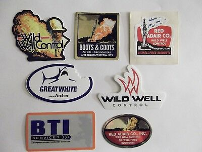 Oilfield Rig Boots Coots Red Adair Great White BTI and  crane hardhat sticker