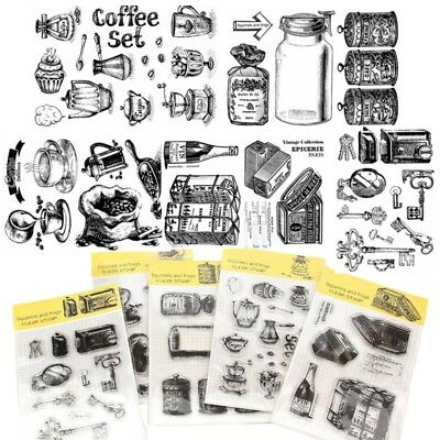 Retro Kaffee Stil Transparent Silikon Klar Stempel Cling Tagebuch Scrapbook DIY