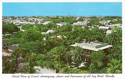 Postcard Florida FL Key West Aerial View Home of Ernest Hemingway Unused NrMINT
