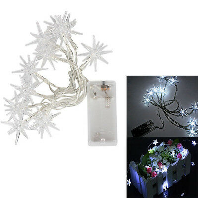 Battery Power Operated 10LED Star String Light Party Lamp White Party Xmas Decor