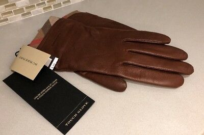 4fc26d02e39 Burberry Women s Solid Leather Housecheck Trim Jenny Touch Glove - 7.5