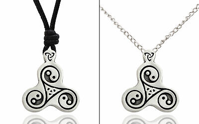Yin Yang Triquetra Trilogy Silver Pewter Charm Necklace Pendant Jewelry