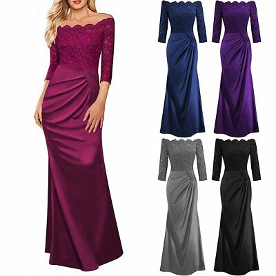 Women Long Lace Evening Formal Party Cocktail Ball Gown Prom Bridesmaid Dress