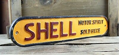 Shell Motor Spirits Sold Here, Vintage Style Cast Iron Sign, Plaque Car Oil sign