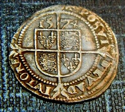 High Grade Tudor Period 1574 Elizabeth 1St Silver Threepence Rose Beside Bust