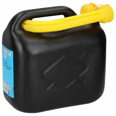 5L Black Plastic Fuel Petrol Diesel Oil Can Jerry Containers Canister With Spout