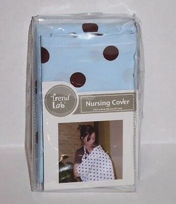 NURSING COVER Light Blue Brown Polka Dot Trend Lab 109200 New Baby Breastfeeding