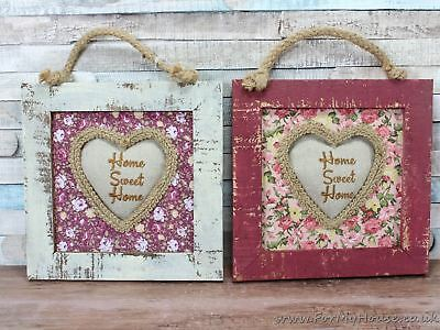 Ditsy Floral White or Maroon Shabby Chic Home Sweet Home Hanging Picture Frame