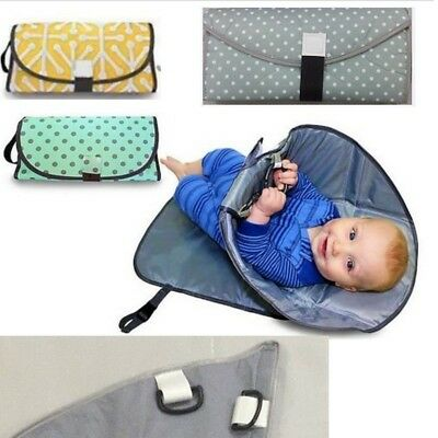 Baby Hands Free Changing Pad Portable 3in1 Cover Mat Folding Diaper Bag Kit Clea