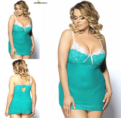 PLUS SIZE DESSOUS | Lace Patchwork Mesh Sexy Babydoll Set | XS-4XL R80073