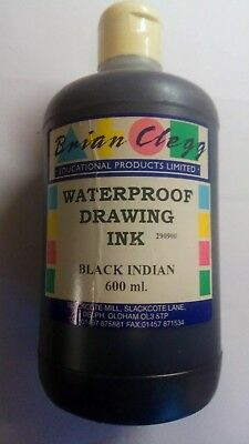 BLACK WATERPROOF DRAWING INK. (INDIAN INK)(NEW OLD STOCK & UN-OPENED) 600 ml.