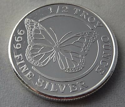 1/2 Oz .999 Fine Silver Round Monarch Butterfly New Proof Like BU Uncirculated.