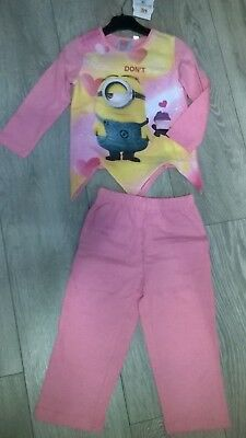 Pink Minion Dispicable Me Pj's pyjamas sleep suit NEW  Girls Age 3 6