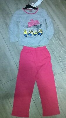 Grey pink Despicable Me Minions nightwear pyjamas sleepwear NEW  Girls Age 6