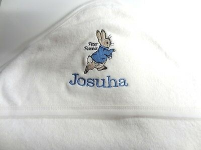 Personalised Hooded Towel - Peter Rabbit - Beatrix  Potter - Embroidered Gift