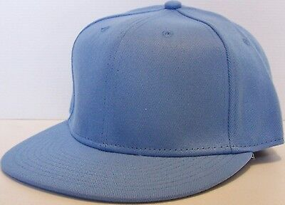 Light Baby Blue Fitted Cap Flat Brim Hat Size 7 1/8 1/4 3/8 1/2 5/8 8 Baseball