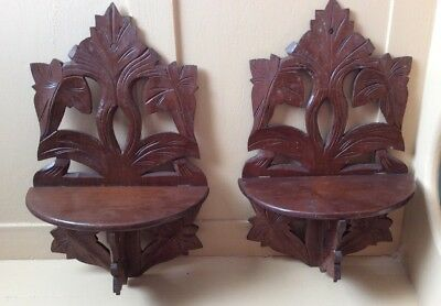 Pair Victorian Matched Carved Walnut Folding Wall Clock Shelves