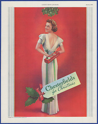 Vintage 1938 CHESTERFIELDS Cigarettes Tobacco Holiday Art Decor Print Ad 1930's