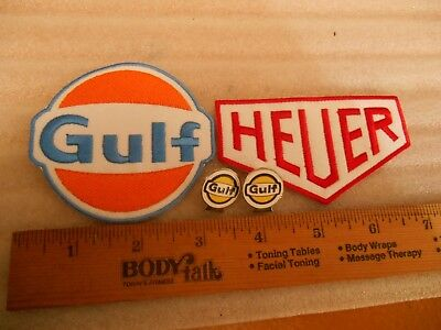 Gulf & HEUER Gas and Oil Iron on Patches + 2 New Gulf Oil Lapel Pins
