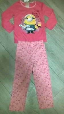 Pink Despicable Me Minions nightwear pyjamas sleepwear NEW  Girls Age 4 8