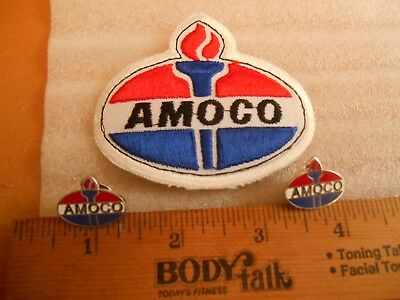 Vintage Amoco Gas & Oil Sew on Patch & 2 New Stock AMOCO Lapel Pins