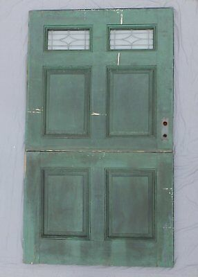 Antique 83x48 Wide Dutch Door Leaded Glass Exterior Entrance Door Vtg 563-18P