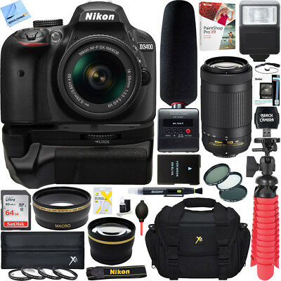 Nikon D3400 DSLR Camera+18-55mm & 70-300mm Dual Lens Tascam Video Creator Bundle