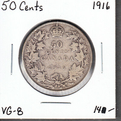 1916 Canada - Fifty Cents - VG-8 - George V  - AB87