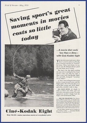 Vintage 1938 CINE-KODAK Eight 8mm Motion Video Camera Fly Fishing Print Ad 30's