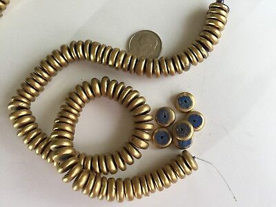 "13.5"" - 92 pcs -  11mm Satin Gold w Blue Center Natural Coco Wood Heishi Beads"