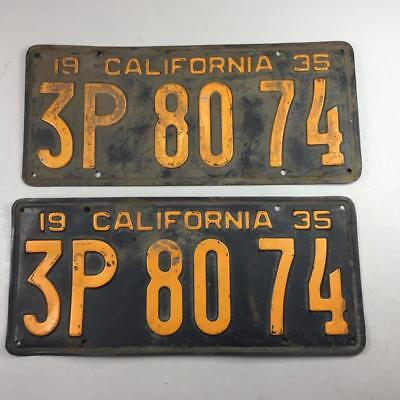 1935 California Pair DMV Clear License Plate Vintage Antique Ford Chevy Dodge & VINTAGE Antique 1968 California License Plate - $22.00 | PicClick