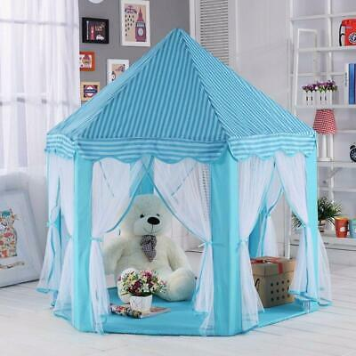 Play Tent Blue Princess Cute Castle Playhouse Indoor Outdoor Kid Children Toy