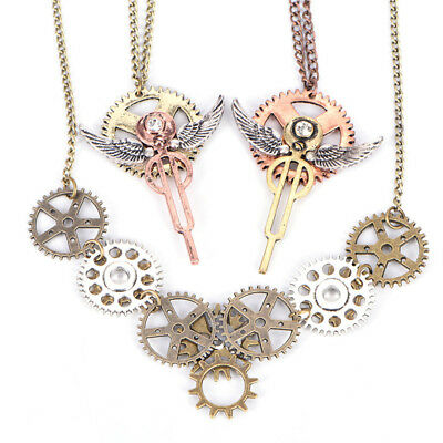 Vintage Steampunk Key Pendant Necklace Gears Anchor Choker Chain Unisex Jewelry&