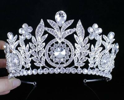 Daisy Floral Clear Austrian Rhinestone Tiara Crown Bridal Pageant Prom Wed T59