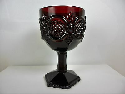 Avon Cape Cod Ruby Red Collection Water Goblet Vintage Roman Rosette Glass #110