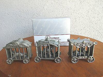 Vintage 1986 Collectible Spoontiques Pewter Ape Lion Tiger In Circus Wagons Mib