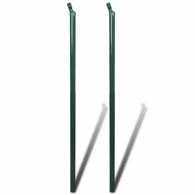 vidaXL 2pcs Garden Mesh Fence Strut Post 150cm w/ Cap Iron Outdoor Wire Fencing