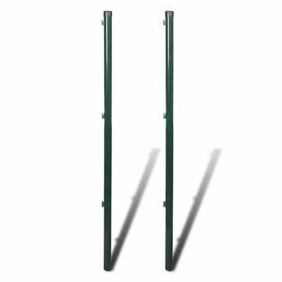 vidaXL 2pcs Garden Mesh Fence Post 115cm Iron Outdoor Wire Fencing Heavy Duty