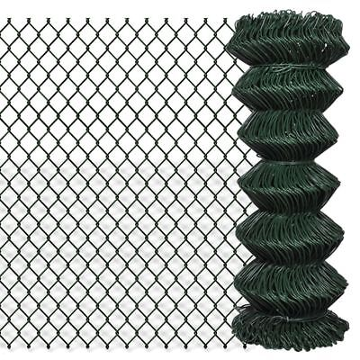 vidaXL 1x15m Chain Link Mesh Fence Garden Netting Galvanised Steel PVC Coated