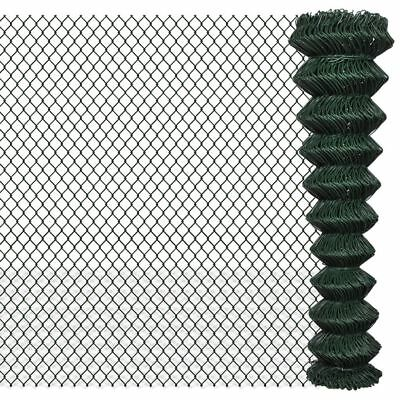 vidaXL 2x15m Chain Link Mesh Fence Garden Netting Galvanised Steel PVC Coated