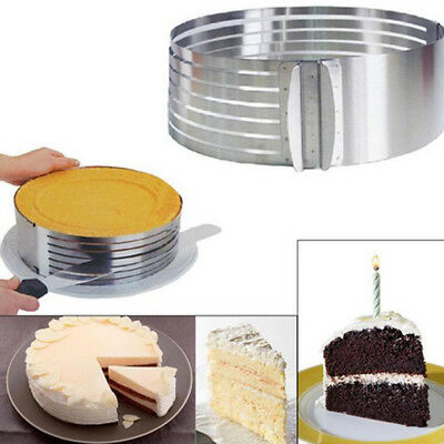 1X Stainless Steel Round Cake Ring Mold Layer Slicer Cutter Adjustable Tool DIY