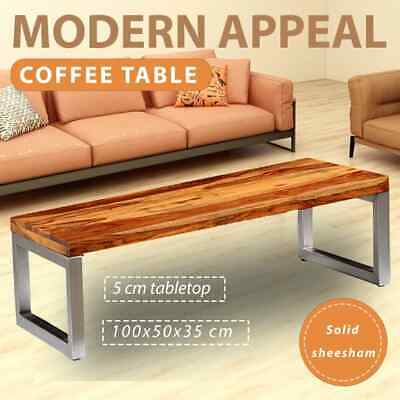 vidaXL Handmade Solid Sheesham Wood Coffee Side Table Steel Leg 100x50x35cm