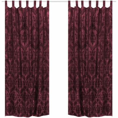 2PC Baroque Taffeta Tab Top Curtain 140x225cm Drop Burgundy Window Bedroom Study