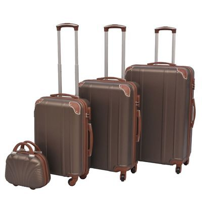 vidaXL 4PC Suitcase Trolley Set TSA Travel Bag Luggage Beauty Hardcase Coffee