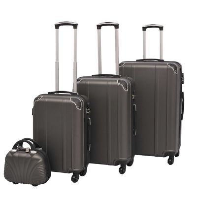 vidaXL 4PC Suitcase Trolley TSA Travel Bag Luggage Beauty Hardcase Anthracite
