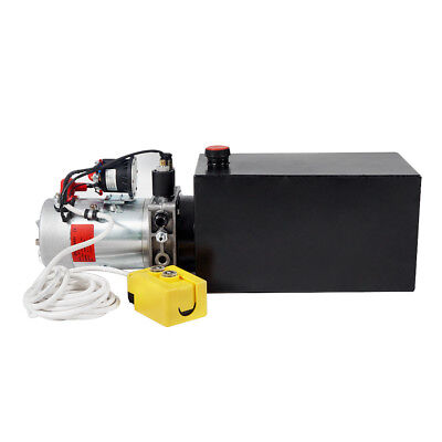 10 Quart Single Acting Hydraulic Pump Power Pack DC12V Dump Trailer Auto Lift